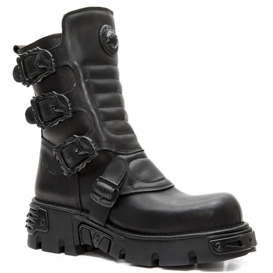 Bota PIEL NEW ROCK Negro Black leather boot Unisex
