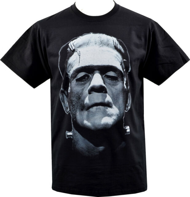 MENS BLACK T-SHIRT FRANKENSTEIN MONSTER BORIS KARLOFF VINTAGE HORROR GOTH S-5XL
