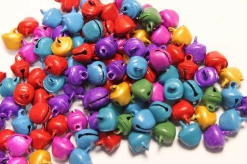 50 Enamel Mix Painted Jingle Bells 6 8 10 12mm Red Green Purple Yellow Blue Pink