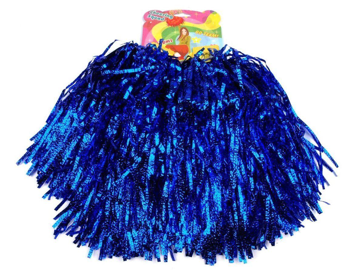 Paar Tanzwedel Pompon Cheerleader Puschel funkelnd blau