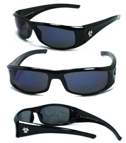 BioHazard Mens Designer Sunglasses Free Pouch Blk//Blue BZ1