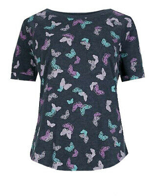 P138.7 Ex Marks and Spencer Butterfly Print Short Sleeve Top Size 10-18