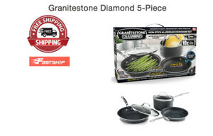 Granite Stone Diamond Ultimate Nonstick 5 Piece Kitchen Cookware Set New Ebay