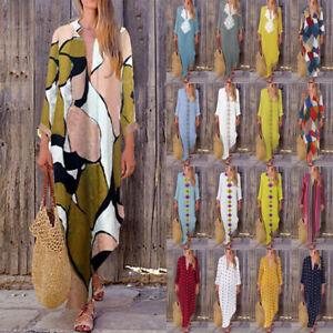 ZANZEA-Women-Long-Maxi-Dress-Floral-Print-Split-Hem-Long-Sleeve-Shirt-Dress-Plus