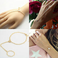 Simple Women Love Bracelet Bangle Slave Chain Link Finger Ring Hand Harness Gold
