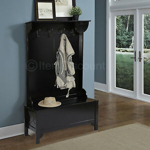 Wood Entryway Mudroom Hall Tree Shoe Storage Bench Hat Coat Rack Stand Organizer