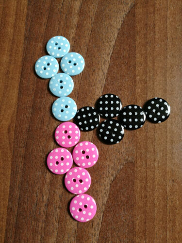 28L novelty Round buttons with polka dots in various colours size 18mm