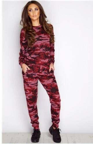 Womens Co-ord Stretch Army Camouflage Print Jogging Suit Set Ladies Tracksuit