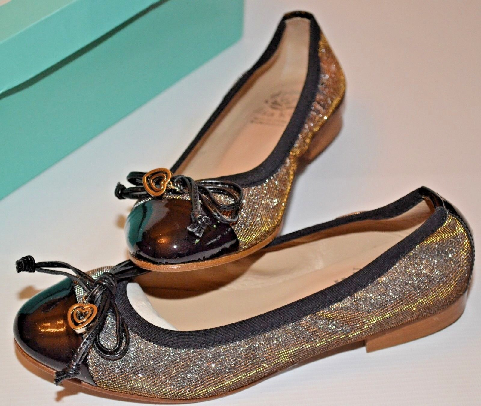 LISA KAY DOLLY IRIDESCENT PEWTER & BLACK LEATHER BALLERINA SHOES UK 3 EURO 36