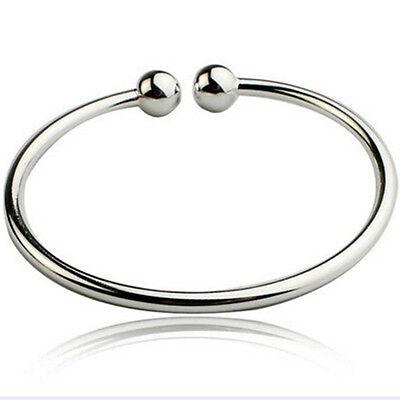 Womens Wholesale Silver Double Beads Opening Wristband Bangle Bracelet jewelry