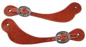 Mens Pair Hermann Oak Harness Leather Spur Straps Jeremiah Watt Oval Buckles New