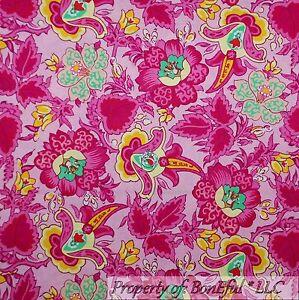 BonEful-Fabric-FQ-Cotton-Quilt-Pink-Green-White-Yellow-Flower-Girl-Garden-Large