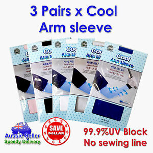 3Pair-Cooling-Sport-Arm-Stretch-Sleeves-Sun-UV-Protection-Covers-Golf-Korea-Made