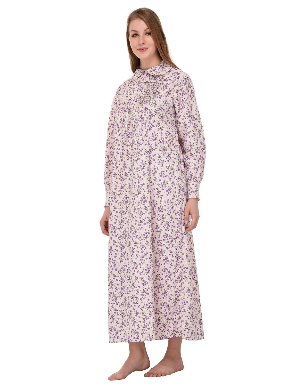 Peter Pan Collar Printed Nightdress   Cotton Lane