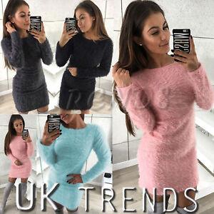 UK-Womens-Fluffy-Dress-Neck-Jumper-Dress-Sweater-Pullover-Ladies-Mini-Size-6-14