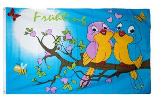 Fahne Frühling Vögel Flagge  Hissflagge 90x150cm