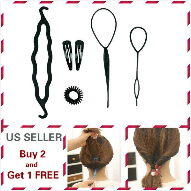 6Pcs Hair French Braid Topsy Tail Clip Magic Styling Stick DIY Bun Maker Tool