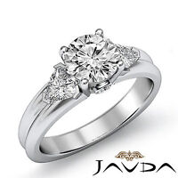 3 Stone Fine Round Diamond Engagement Ring GIA I Color VS2 14k White Gold 1.6 ct