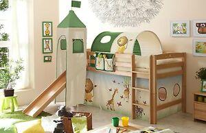 Kinderbett dschungel  Rutschbett Hochbett Rutsche & Turm Kinderbett Etagenbett Buche ...