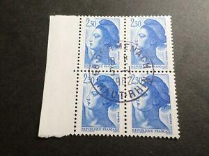 FRANCE BLOC timbres 2189 LIBERTE' DELACROIX, oblitéré 1982 cachet rond, QUARTINA