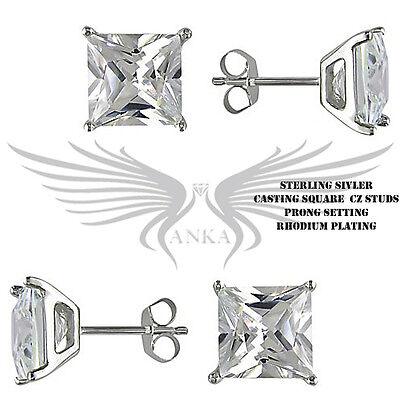 AAA Grade Princess CZ Cubic Zircon Rhodium 925 Sterling Silver Earrings DSF-FBP