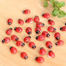 50 x Self Adhesive Ladybird Bug Wooden Sticker Craft Card Scrapbooking