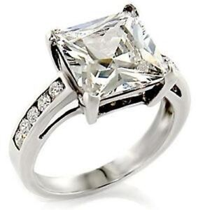 Solid-4-6ct-Womens-Princess-Cut-Wedding-Engagement-Ring-SIZE-10