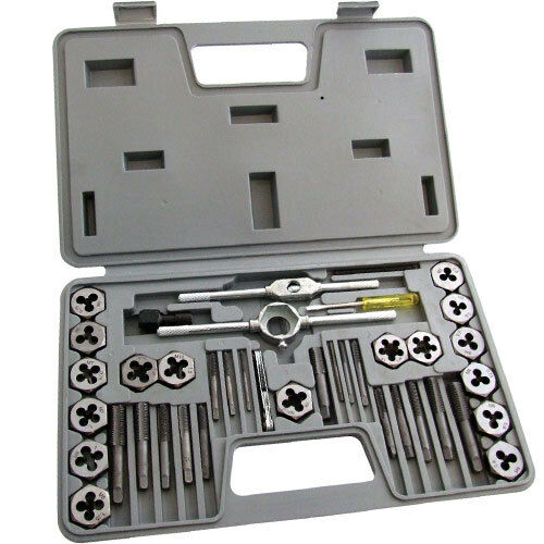 40 Pc METRIC TAP WRENCH AND DIE PRO SET CUTS M3-M12 BOLTS IN HARD CASE