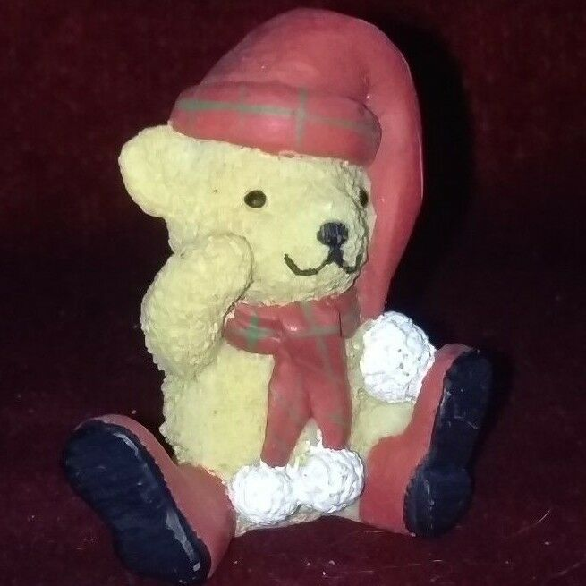 Small Resin ROT Bear Wearing ROT Resin Hat, Scarf, and Wellies Origin Unknown abd834
