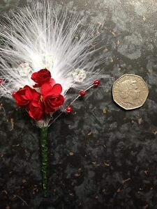 Small Red And White Marabou Feather Button Holes Corsage Wedding
