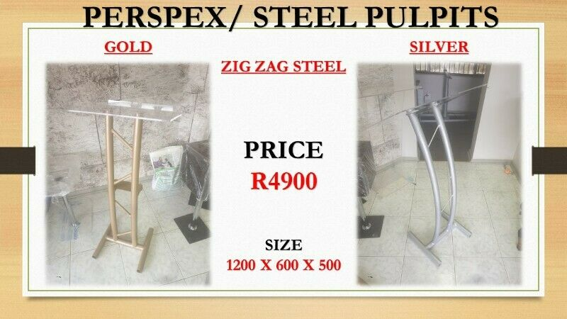 Customized Double Pole Silver And Gold Steel Podium