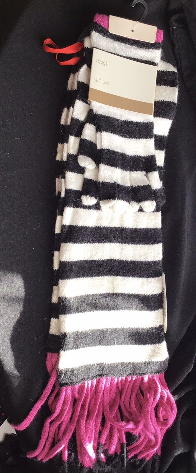 M&S Scarf And Glove Set Black White Pink Brand New