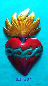 "Flaming Heart Perpetuo Socorro Mexican Handmade Painted Tin Milagro Art 5.5""x3"""