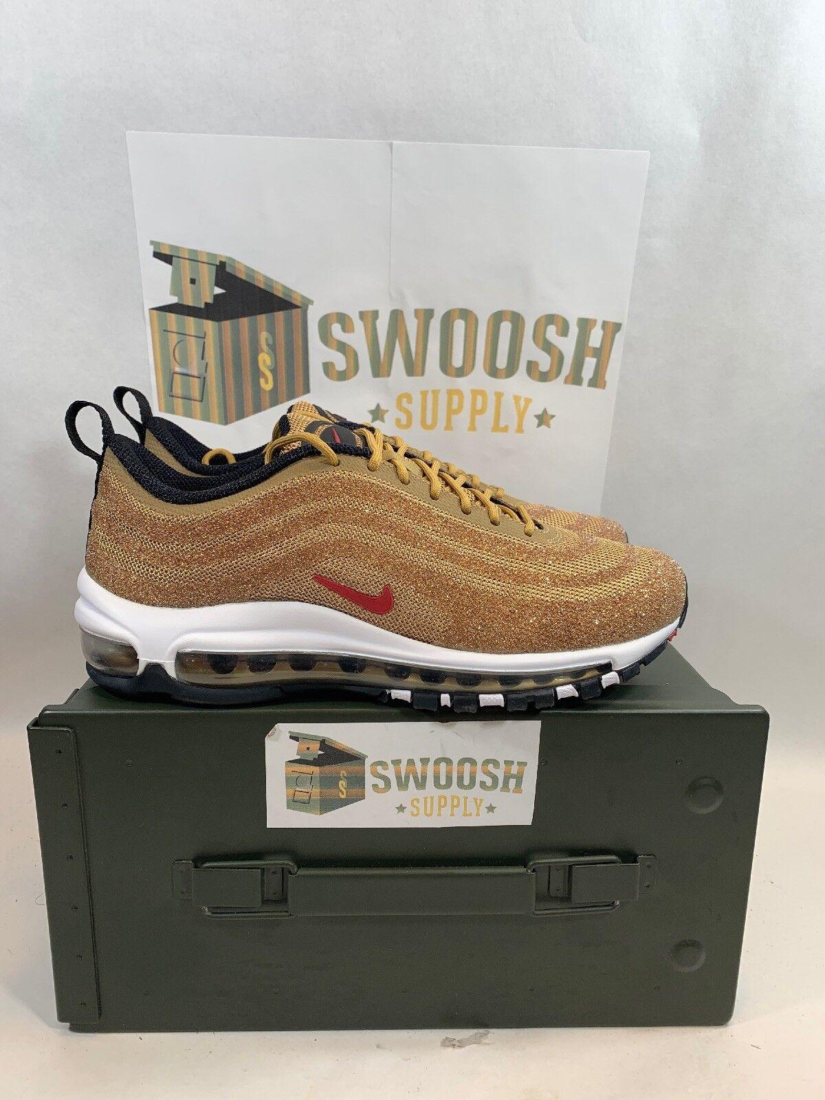 Nike Nike Nike kvinnor Swarovski Air Max 97 LXX Storlek 7.5 guld 927508 700  fri frakt och utbyte.