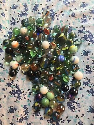 Set OF 50 Glass Marbles Bulk Assorted Colors 48 Players and 2 Shooters Styles