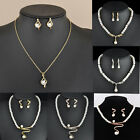 Luxury Women Wedding Bridal Pearl Rhinestone Necklace And Earrings Set Jewelry