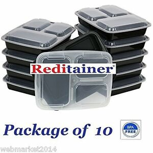 Image Is Loading 10 Pack 3 Compartment Microwave Safe Food Container