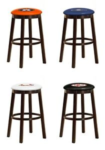 Sensational Details About Mlb Bar Stool 24 Or 28 Espresso Wood Metal W Colored Vinyl Baseball Team Logo Squirreltailoven Fun Painted Chair Ideas Images Squirreltailovenorg