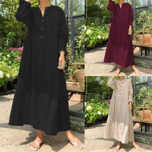 Oversize-Femme-Casual-en-vrac-Coton-Manche-Longue-Boutons-Loose-Robe-Dresse