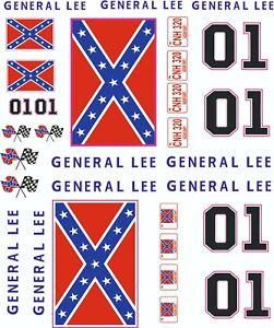 1-10 Scale Model Duke Of Hazard General Lee Style Exterior Vinyl Decals