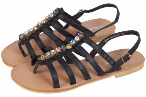 Womens Ladies Flats Strappy Sandals Toe Post Ankle High Hi Caged Gladiator Shoes