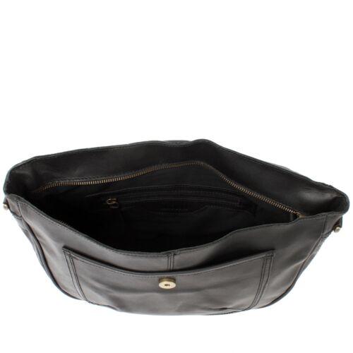 LECONI Umhängetasche Schultertasche Damen Freizeit Leder schwarz LE3053-wax