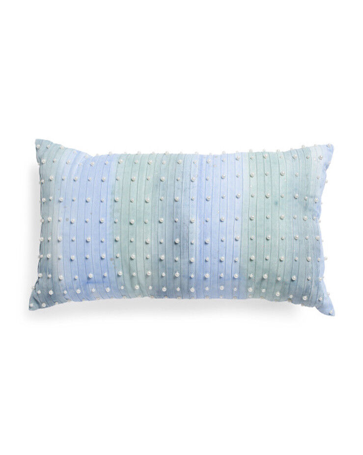CALLISTO HOME bluee Multi Pearl Embellished & Pleated Decorative Toss Pillow NEW