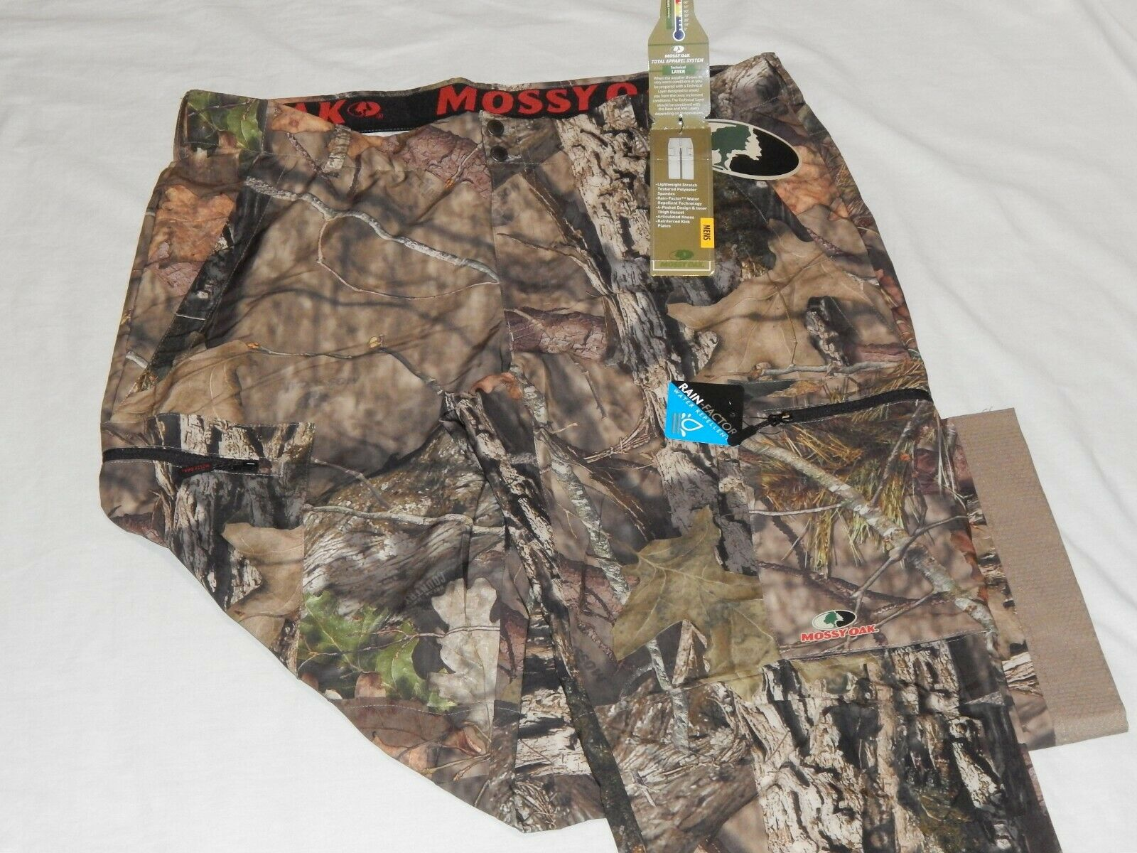 NEW Mossy Oak Break up Country Camo Rain Factor Layer Hunting Pants Men's Sizes