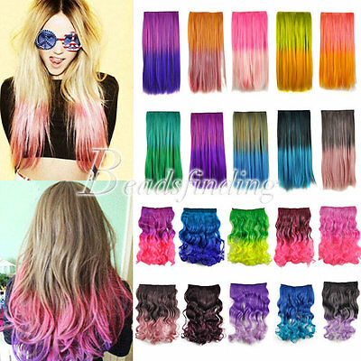 2016 Hot Women Colorful Curly Straight Party Fluorescent Cosplay Hair Extensions
