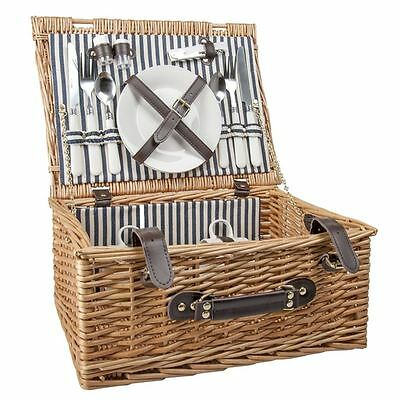 Benzer - Picnic Basket for 2 Blonde with Black Polo Stripe