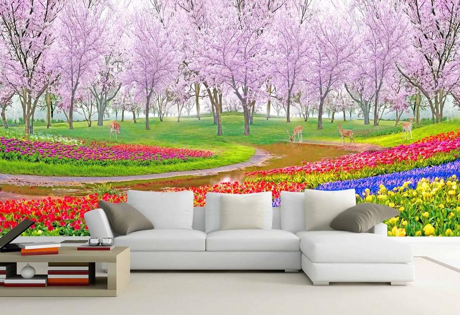 3D Bunter Garten Baum 8 Tapete Wandgemälde Tapete Tapeten Bild Familie DE Summer