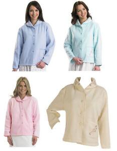 magasin d'usine 0f8ae 65228 Détails sur Slenderella Femmes Polaire Boutonné Veste de Nuit Fleur Ruban  Satin Robe Chambre