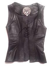 AGATHA BLOIS NYC Custom Leather Black Vest / Bustier Corset SZ S Rocker