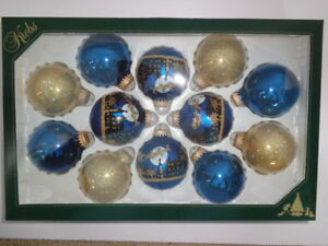 Details About 12 Krebs Glass Ornaments 2 5 8 Gold Navy Velvet W Night Before Christmas